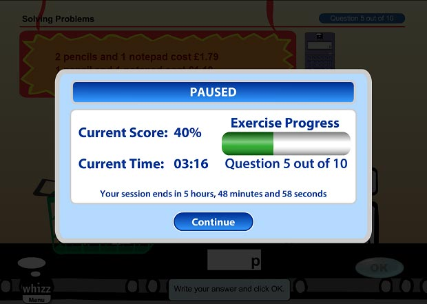 Exercise progress after pausing a Maths-Whizz lesson