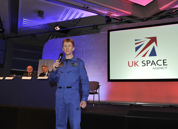 Major Tim Peake describes his ESA astronaut training to the audience. Credit: Department for Business, Innovation and Skills