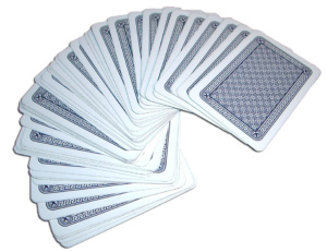 deck of cards spread out face down
